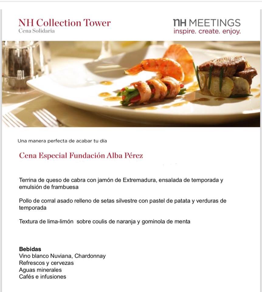 YA PUEDES APUNTARTE. La gran gala benéfica de la Fundación Alba Pérez se realizará el día 3 de noviembre de 2018 en el Hotel NH COLLECTION BARCELONA TOWER. Organizado por la Fundación Alba Pérez. apúntate aquí: https://www.migranodearena.org/reto/18933/cena-benefica-dia-3-de-noviembre-de-2018-hotel-nh-collection-barcelona-tower