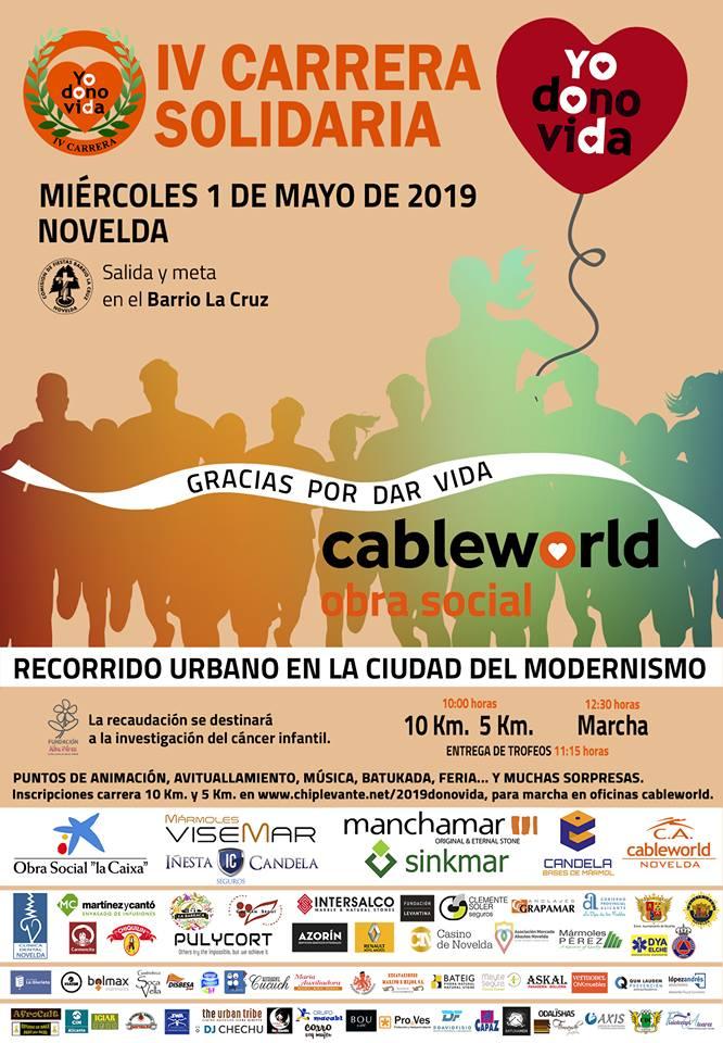 IV CARRERA SOLIDARIA. MIÉRCOLES 1 DE MAYO DE 2019 EN NOVELDA