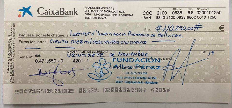 TRES NUEVOS TALONES QUE LA FUNDACION ALBA PEREZ APORTA A LA INVESTIGACION DEL CANCER INFANTIL, POR VALOR DE 177.375 EUROS.