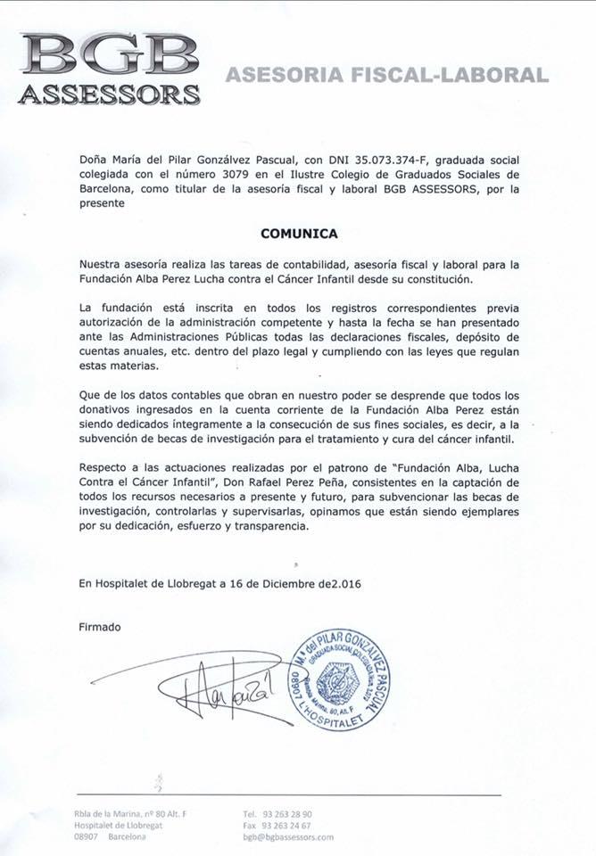 COMUNICADO: Certificados de que la Fundación Alba Perez Cumple con los objetivos marcados en sus estatutos fundacionales (luchar contra el cáncer infantil, creando Becas de investigación controladas) Ambos informes han sido expedidos hoy dia 16/12/2016